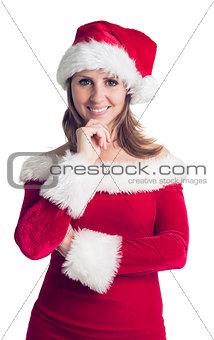 Portrait of pretty woman in santa costume smiling