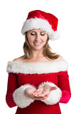 Pretty woman in santa costume presenting your product