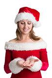 Pretty woman in santa costume presenting your product
