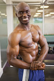 Smiling shirtless muscular man posing in gym