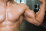 Mid section of muscular man flexing muscles