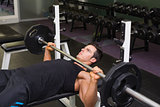 Determined muscular man lifting barbell