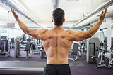 Rear view of shirtless muscular man in gym