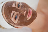 Beautiful blonde getting a chocolate facial treatment