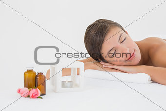Close up of a beautiful woman on massage table