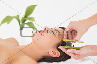Attractive woman receiving aloe vera massage at spa center