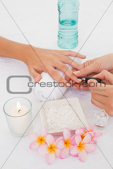 Beautician applying nail varnish to female client's nails