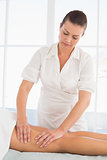 Female masseur massaging woman's leg