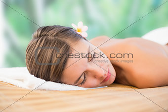 Close up of beautiful woman on massage table