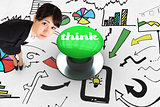 Think against digitally generated green push button