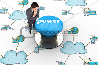 Power against blue push button