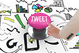 Tweet against pink push button