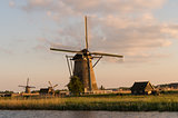Dutch windmills (Kinderdijk) in sunset