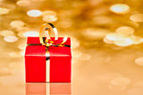 Gift Box with Golden Background
