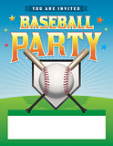 Baseball Party Flyer Illustration