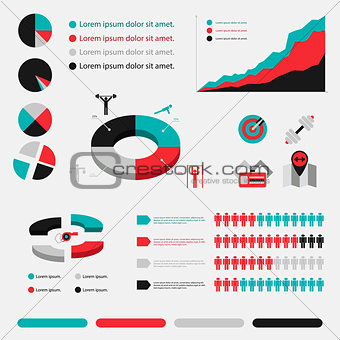 Fitness infographic in flat designed four colour