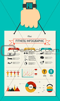 Fitness infographic in flat designed with hand