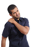Arab man complaints with shoulder ache