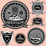 set of vector emblems  with mountains