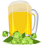 Mug of lager beer and green hops