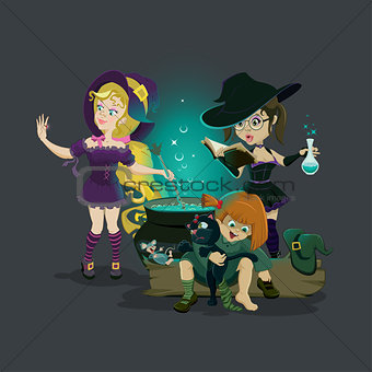Three witches brew potion