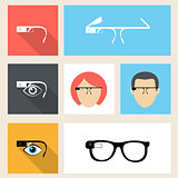Smart glasses square seven icons in flat design