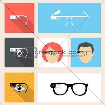Smart glasses square seven icons in flat design