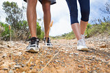 Fit couple walking down mountain trail