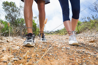Fit couple walking down mountain trail