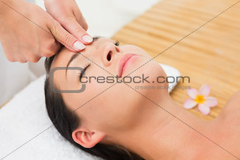 Smiling brunette enjoying a head massage