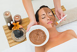 Peaceful brunette getting a mud facial applied