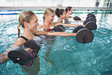 Smiling female fitness class doing aqua aerobics with foam dumbbells