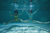 Pretty friends smiling and posing for camera underwater