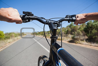 Cyclist hitting the open road