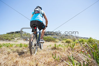 Fit cyclist riding in the countryside uphill