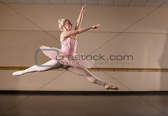 Beautiful ballerina dancing in pink tutu