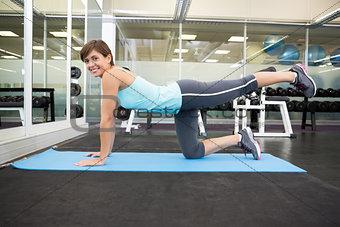 Fit smiling brunette doing pilates on exercise mat