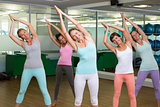Yoga class in tree pose in fitness studio