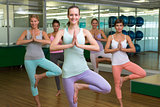 Smiling yoga class in tree pose in fitness studio