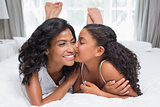 Pretty woman lying on bed with her daughter kissing cheek