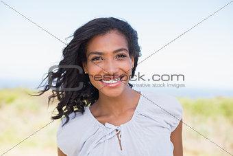 Casual woman smiling at camera