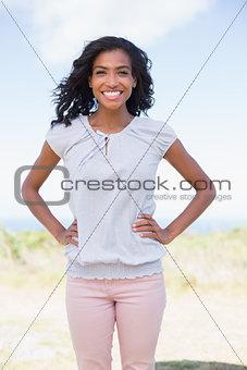 Casual pretty woman smiling at camera