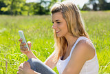 Pretty blonde sitting on grass sending a text