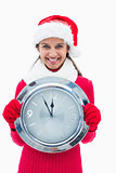 Beautiful festive woman holding clock