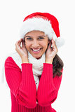 Beautiful festive woman smiling at camera