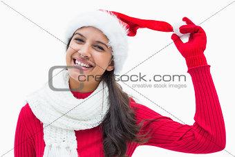 Beautiful festive woman smiling at camera