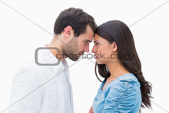 Angry couple staring at each other
