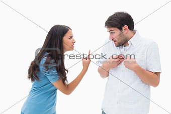 Angry brunette shouting at boyfriend