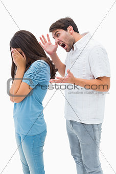Angry man shouting at girlfriend