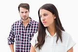 Angry brunette not listening to her boyfriend